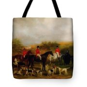 Sir Edmund Antrobus And The Old Surrey Fox Hounds At The Foot Of Tote Bag