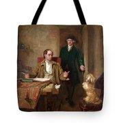 Sir Joshua Reynolds Visiting Goldsmith In His Study Tote Bag