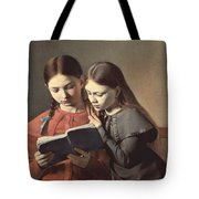 Sisters Reading A Book Tote Bag by Carl Hansen