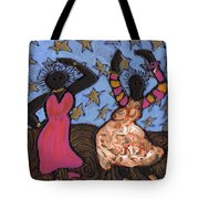 Sisters Sarah Sue And Sally Mae Swinging The Night Away Tote Bag