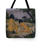Sitting And Kneeling Figures On The Bank Of The Moritzburg Lakes Tote Bag