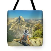 sitting at Glacier Point Tote Bag