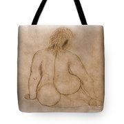 Sitting Fat Nude Woman Tote Bag