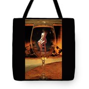 Sitting Nude In Glass Tote Bag