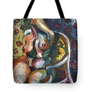 Sitting Nude With Flowers And Chair Tote Bag