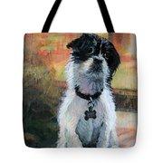 Sitting Pretty - Black And White Puppy Tote Bag