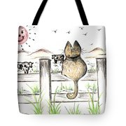 Sitting Watching Cows In The Meadow Tote Bag