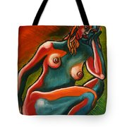 Sitting Woman In Fixed Motion Tote Bag