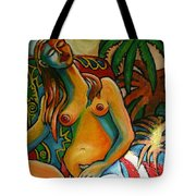 Sitting Woman In Garden Tote Bag