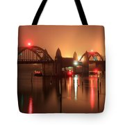 Siuslaw River Bridge At Night Tote Bag