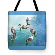 Six Ducks Swim Together Tote Bag