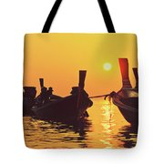 Six Thai Wooden Boats Floating And Glittering In The Lagoon During Golden Sunset Koh  Tote Bag
