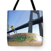 Skate Under Bridge Tote Bag