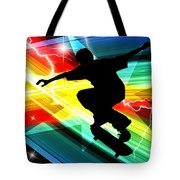 Skateboarder In Criss Cross Lightning Tote Bag by Elaine Plesser