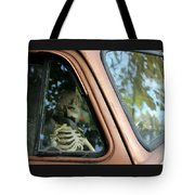 Skeleton Behind The Wheel Of Chevy Truck Tote Bag