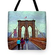 Sketch Of Brooklyn Bridge Pedestrians Tote Bag