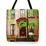 Sketch Of Carrie Bradshaw Greenwich Village Brownstone Tote Bag