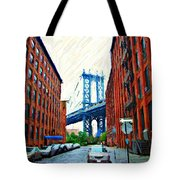 Sketch Of Dumbo Neighborhood In Brooklyn Tote Bag