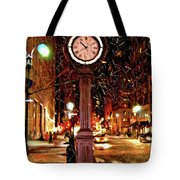 Sketch Of Midtown Clock In The Snow Tote Bag