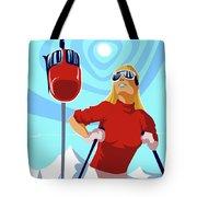 Ski Bunny Retro Ski Poster Tote Bag
