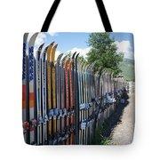 Ski Fence Tote Bag