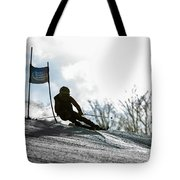 Ski Racer Backlit Tote Bag