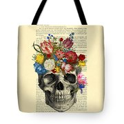 Skull With Flowers Vintage Illustration Tote Bag by Madame Memento