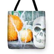 Skull And Pumpkin Tote Bag