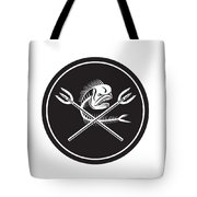 Skull Mahi Mahi Dolphin Fish Crossed Spears Circle Retro Tote Bag