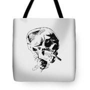 Skull Smoking A Cigarette Tote Bag