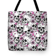 Skulls And Red Flowers Tote Bag