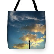 Sky Clouds And Statue In Stuttgart Germany Tote Bag