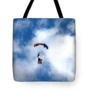 Skydiver With Flag Tote Bag