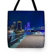 skyline and river coast scenes in Jacksonville Florida Tote Bag
