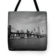 Skyline And The Brooklyn Bridge Tote Bag