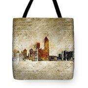 skyline of Atlanta in modern and abstract vintage-look Tote Bag