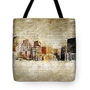 skyline of Denver in modern and abstract vintage-look Tote Bag
