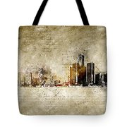 skyline of Detroit in modern and abstract vintage-look Tote Bag