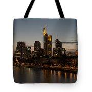 Skyline Of Frankfurt City In Twilight Tote Bag