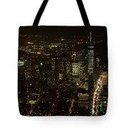 Skyline Of New York City - Lower Manhattan Night Aerial Tote Bag