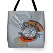 skyline of Uptown charlotte mini planet in winter Tote Bag