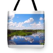 Skyscape Reflections Blue Cypress Marsh Florida Collage 1 Tote Bag