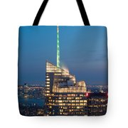 Skyscraper Lit Up At Night, One World Tote Bag