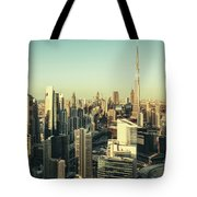 Skyscrapers Of Dubai At Sunset Tote Bag