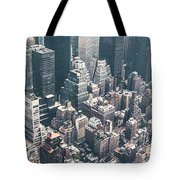 Skyscrapers View From Above Building 83641 3840x1200 Tote Bag
