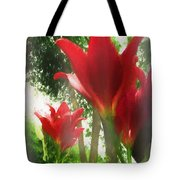 Skyward Red Lilies Tote Bag