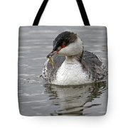 Slavonian Grebe With Fish Tote Bag