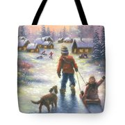 Sledding To The Village Tote Bag