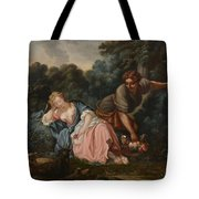 Sleeping Maiden In A Woodland Landscape Tote Bag