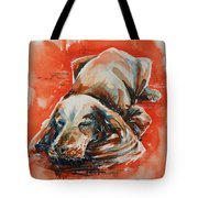 Sleeping Spaniel On The Red Carpet Tote Bag